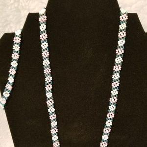 Pink Blue White Floral Necklace and Bracelet Set